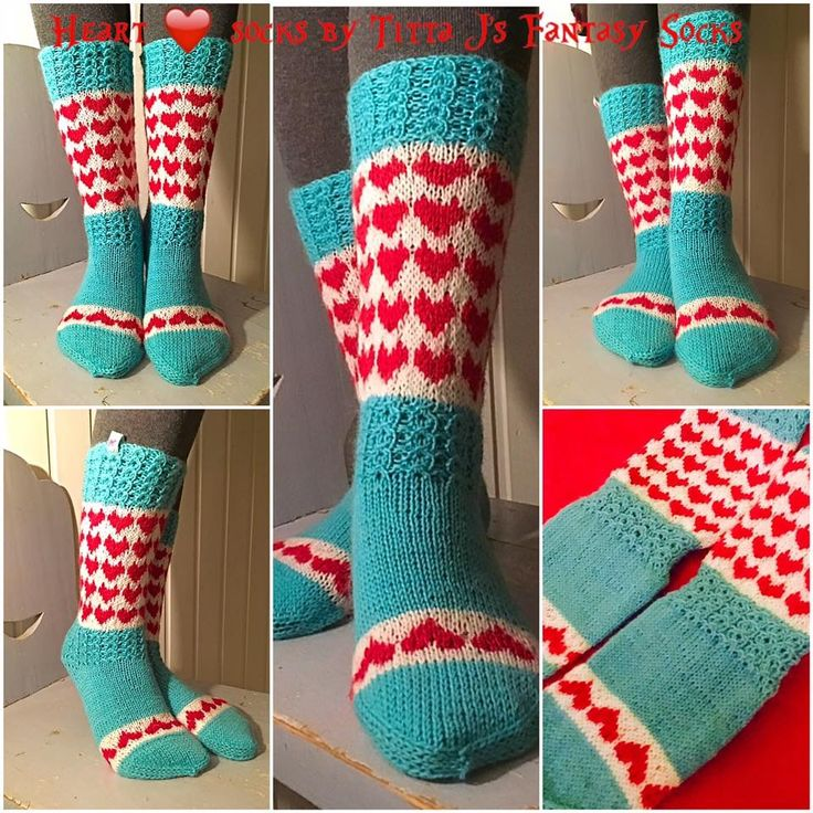 Full of heart socks by Titta J's Fantasy Socks