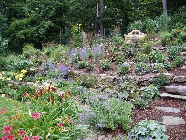 Hillside planting garden pinterest gardens garden for Garden designs on a slope