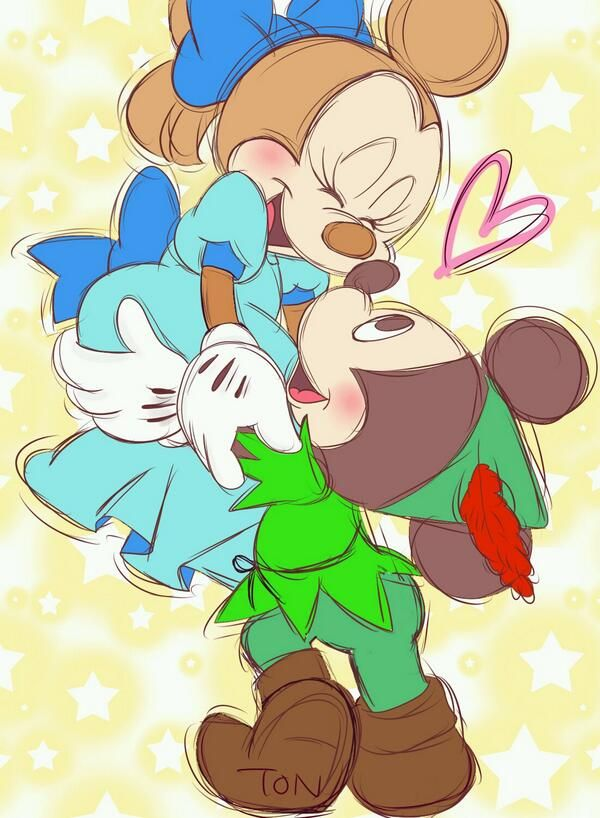 Mickey and Minnie Peter Pan and Wendy
