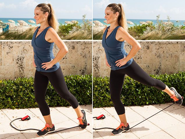 Standing Hip Extension to challenge your balance and strengthen your core and glutes. #workout @Jessica Smith Gomez http://www.ivillage.com/get-relief-back-pain-now/4-a-515186#