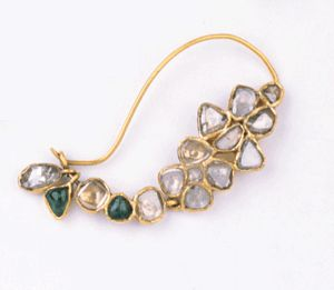 Central India | Mango-shaped nose ring of gold, diamonds, and emeralds | ca. 19th century | Susan L. Beningson Collection