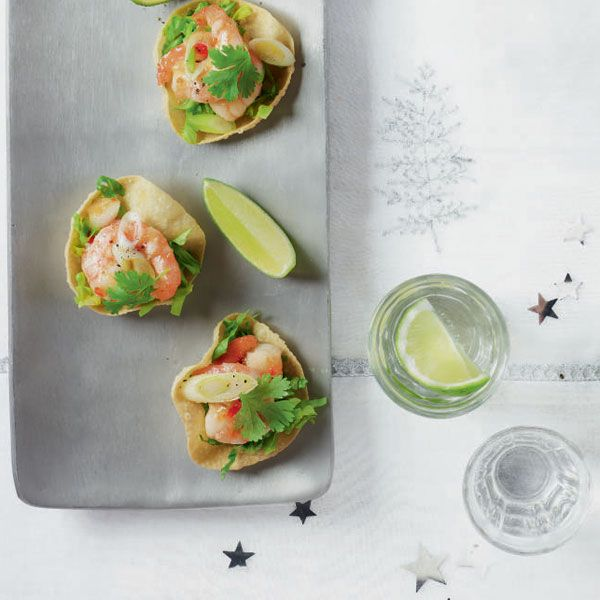 A fabulously simple shortcut canapé. You can also use thin strips of seared steak instead of prawns.