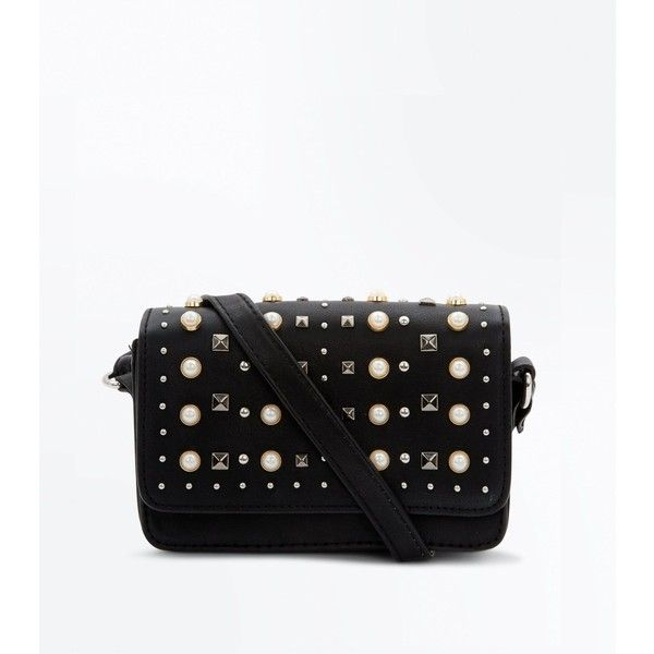Black Pearl Stud Embellished Shoulder Bag ($21) ❤ liked on Polyvore featuring bags, handbags, shoulder bags, black, pearl handbag, studded shoulder bag, snap closure purse, snap purse and new look purses
