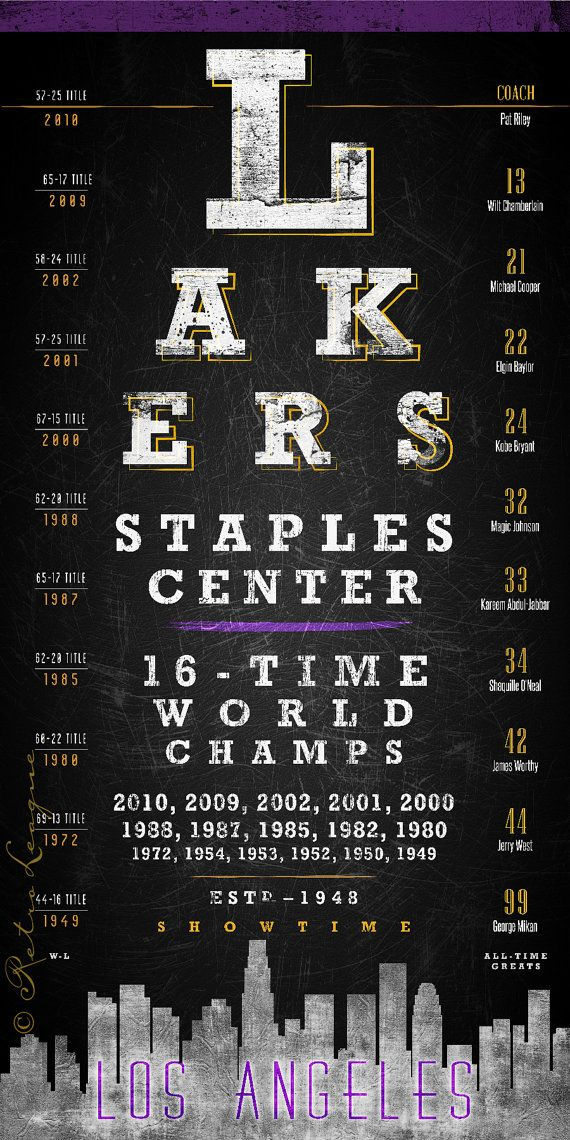 Relive the Los Angeles Lakers championship years with this eye-catching chart. Proudly display your Lakers all-time greatest players that include Magic Johnson, Kobe Bryant, Wilt Chamberlain and other Lakers legends.  - Vintage artwork on premium photo luster paper - High-resolution 10x20 art print (unframed) - $28 - Also available as 15x30 (unframed) - $45 - Free shipping for additional items - Watermark symbol ©Retro League will be removed when mailed out  Thanks for stopping by our court…