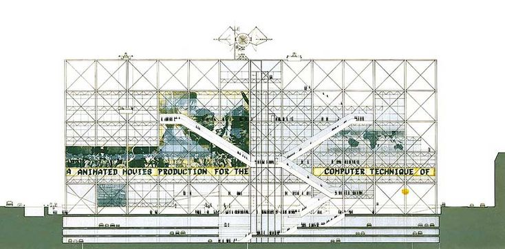 Centre pompidou elevation from the competition entry - Centre george pompidou architecture ...