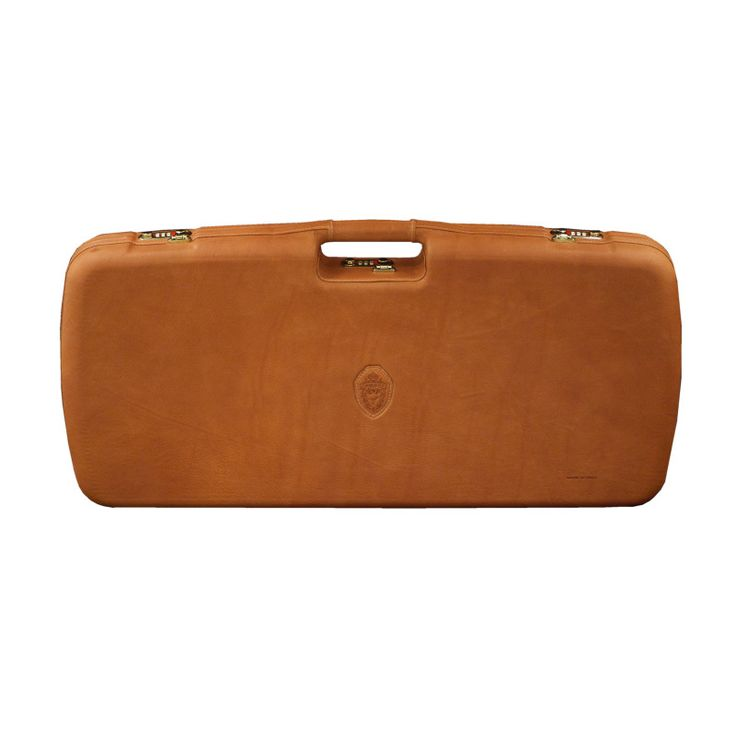 This Italian made case is leather wrapped over a durable ABS thermoformed rifle case.   Saddle leather exterior with a Green felt interior 78.5×35.5×7.5 cm  Can accommodate two optics and two barrels up to 31 inches