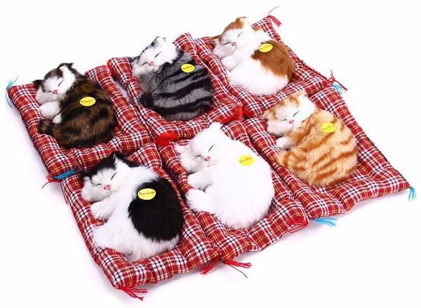 Lovely Plush Sleeping Cat Toy with Sound