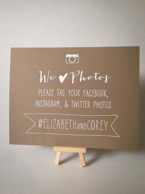 Set of 2 Hand Drawn Wedding Hashtag Photo Signs for Facebook, Instagram, and Twitter Tagging, via Etsy - GREAT way to be sure you're seeing everything your friends are posting