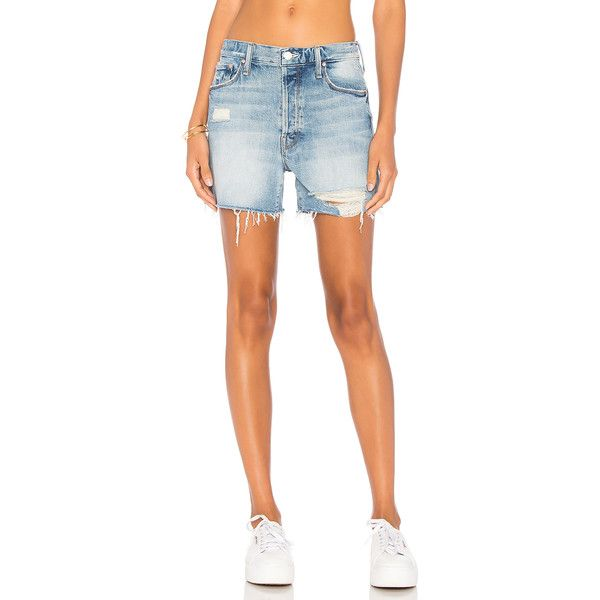 MOTHER The Proper Short (£105) ❤ liked on Polyvore featuring shorts, jean shorts, destroyed denim shorts, cutoff jean shorts, ripped denim shorts, short shorts and cutoff denim shorts