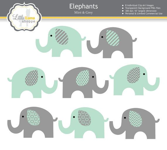 mint and grey elephants clipart mint green and gray nursery decor elephant graphics elephant. Black Bedroom Furniture Sets. Home Design Ideas