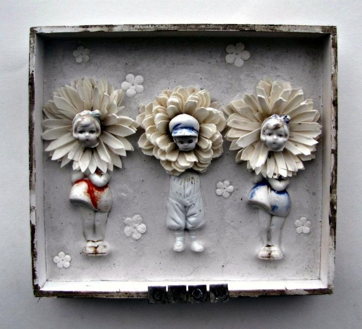 Antique Doll Mixed Media Shadow Box Assemblage Flower Children