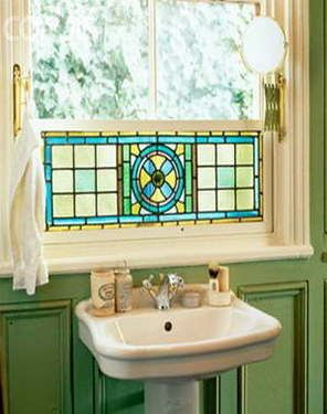 bathroom privacy stained glass window