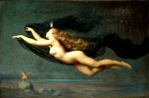 """Auguste Raynaud (1854 - 1937) Night - In Greek mythology, Nyx (""""night"""", Nox in Roman translation) was the primordial goddess of the night.Canvas Artworks, Mothers, Goddesses, Beautiful, Night, Auguste Raynauds, Greek Mythology, Art Painting, La Nuit"""