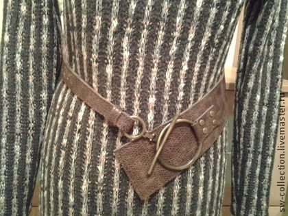 Коричневый пояс с кольцом - коричневый,однотонный,пояс,ремень из кожи