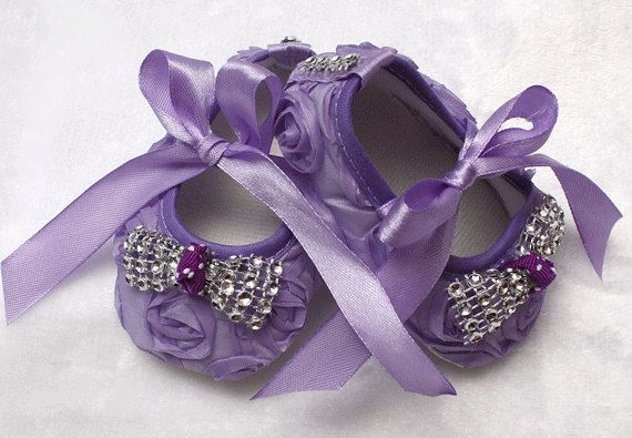 coming home outfit bling baby shoes baby couture lavender baby shoes crib shoes newborn photo prop baby diva rosette baby shoes sparkle by ChesapeakeBayby on Etsy