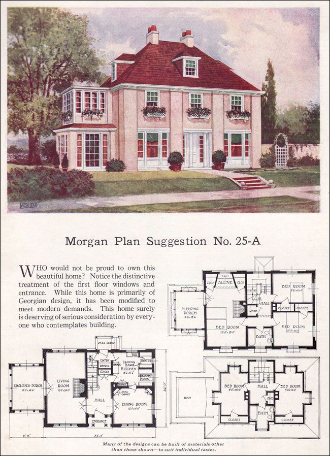 vintage 1923 2 story house design with floor plan i adore the bedrooms tucked up under the attic roof and would love to have a sleeping porch