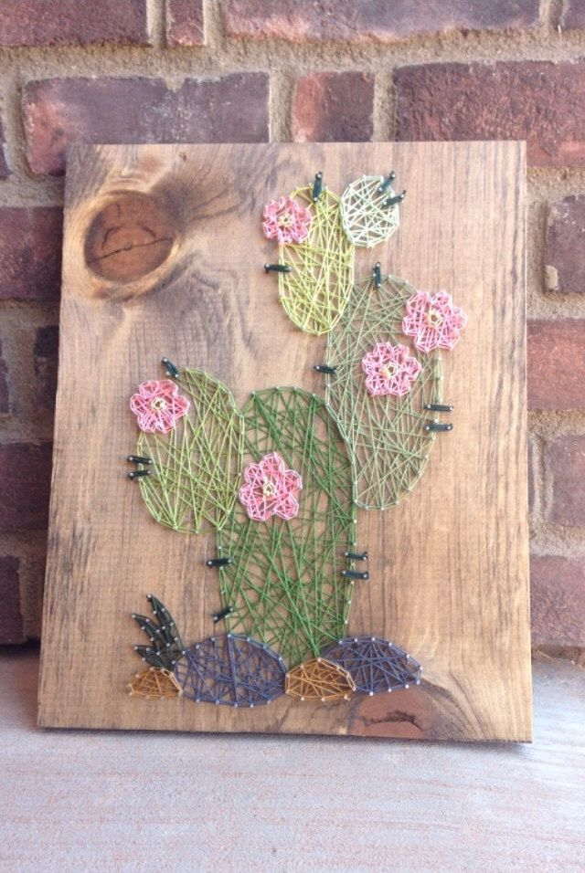 A string art cactus desert home decor home and living baby nursery gift from my Etsy shop https://www.etsy.com/listing/398603661/cactus-string-art-wood-sign-rustic-home