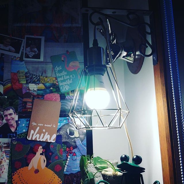 Mood lighting above my desk. Can you spy the picture of my hubby on my inspiration board 😉 #lighting #deskarea #husband