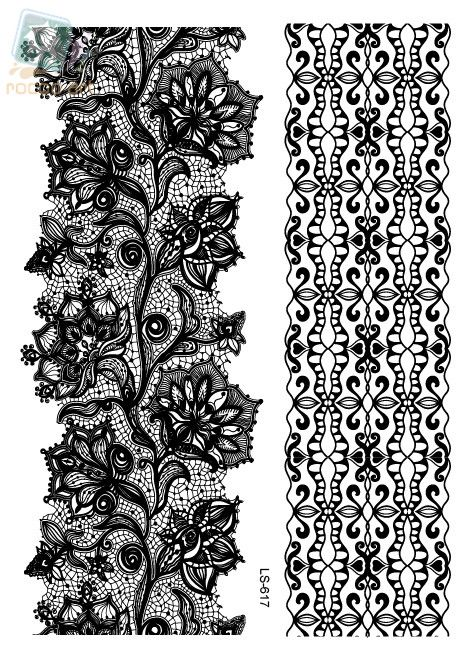 LS616/Rocooart eco-friendly henna makeup temporary Indian flower tattoo black white lace bracelet tattoo sticker