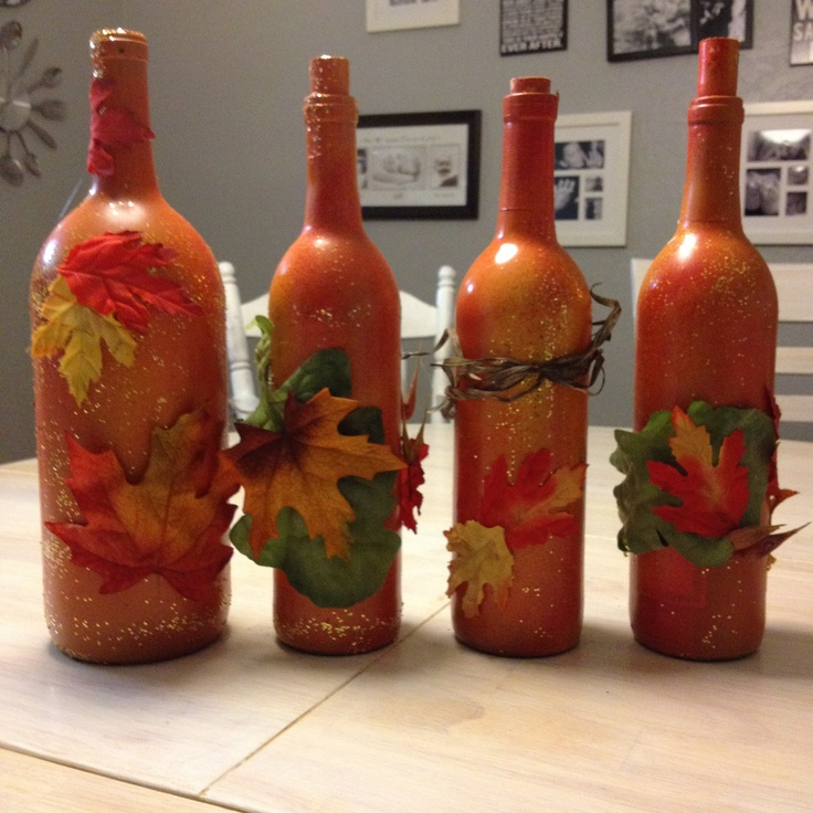 Fall Decorations Made From Wine Bottles Crafty Pinterest Bottle Autumn And Fall