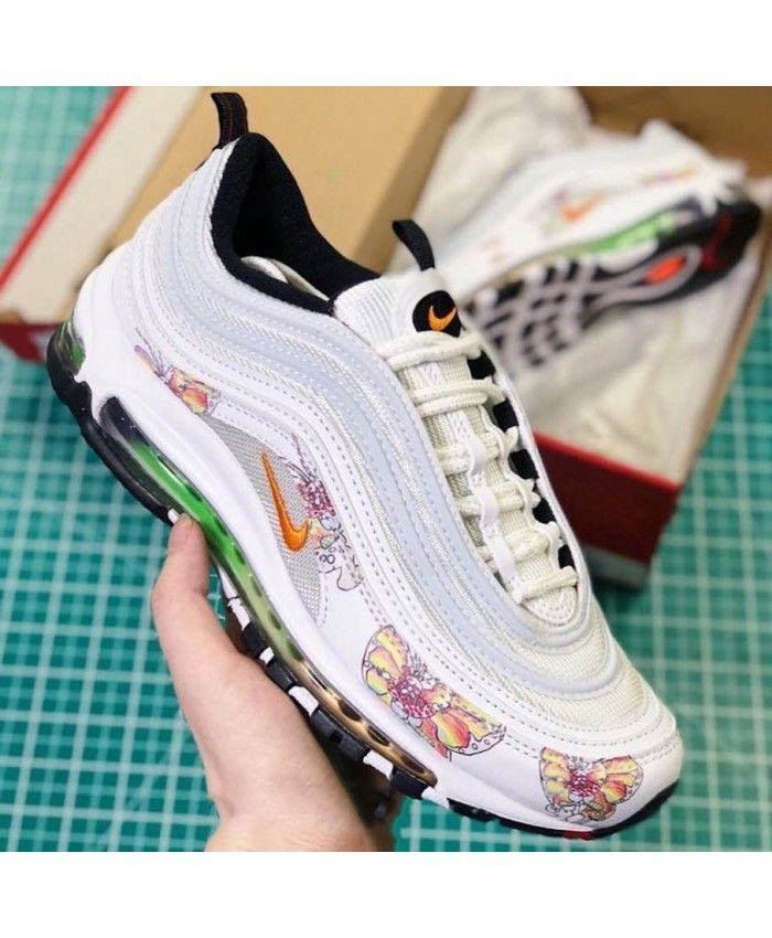 Women's Nike Air Max 97 In White Custom Trainer   Shoes in