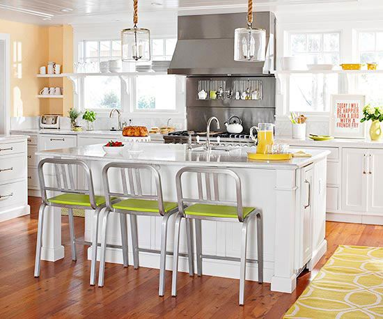 TREND: All-neutral kitchens in a transitional style, but with happy hits of color and whimsy. With so many kitchens these days sporting white cabinets, wooden floors, and stainless steel appliances, we tend to turn to artwork and accessories to bring color and personality in. The kitchen above is a great example of how adding just [...]