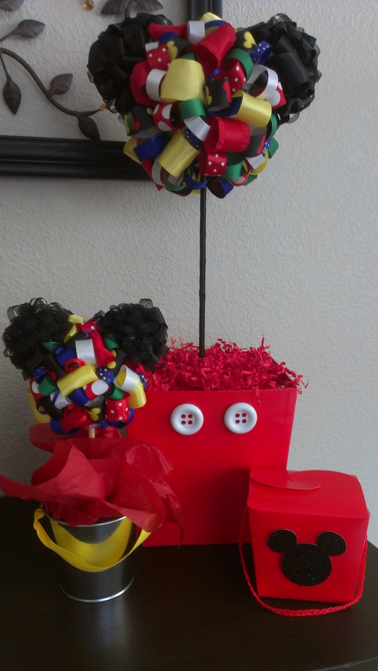 Mickey mouse ribbon topiary for baby shower made with for Baby mickey mouse decoration