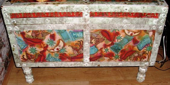 This is a chest that my father made long before I was ever born...it has seen quite a lot during that time! When I was a teenager, I painted it Pepto Pink with…