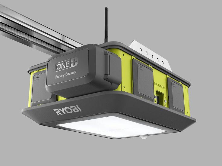 The Ryobi Ultra-Quiet Garage Door Opener lets you add a Bluetooth speaker, some lasers, and a battery pack to its modular base unit.