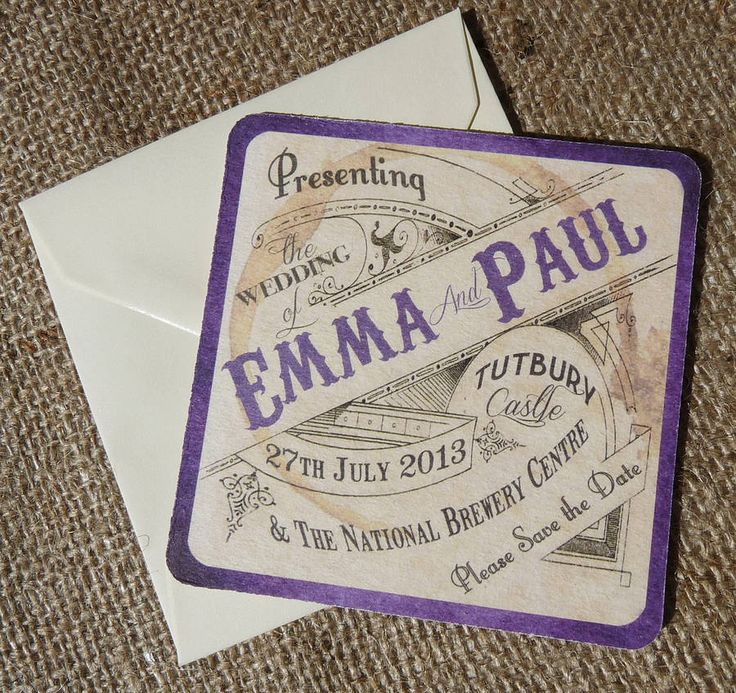 for a rustic wedding beer mat save the date cards by in