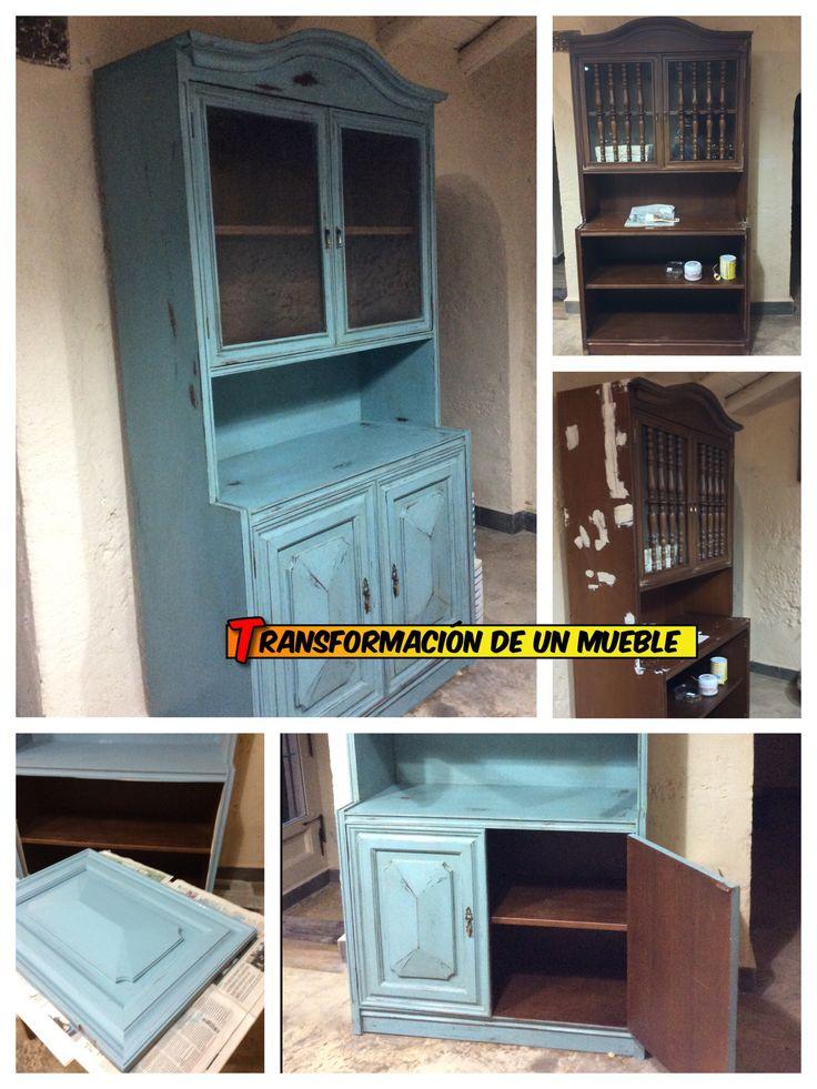 Transformaci n diy de un mueble antiguo con pintura a la for Pintura azul turquesa
