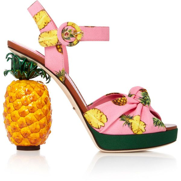 Pineapple Sandals | Moda Operandi ($1,995) ❤ liked on Polyvore featuring shoes, sandals, dolce gabbana sandals, pink sandals, crepes shoes, pineapple print shoes and pink shoes