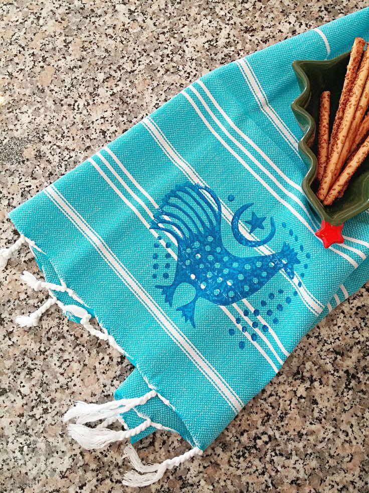 50x80cm Hand Block Printed Blue on Blue Kitchen Towel Peshtemal Turkish Ethnic Rooster Motifs Soft Cotton Multi-functional by JIJIMA on Etsy