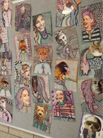 "Art at Becker Middle School: Surrealist Collage Pattern Portraits idea chula para ""texturas"""