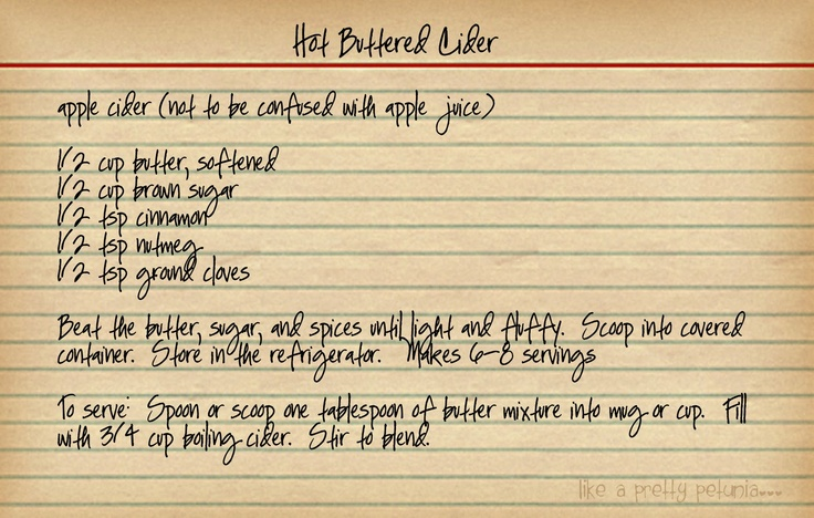 Hot Buttered CiderRecipe, Hot Butter, Beverages, Drinks, Butter Cider