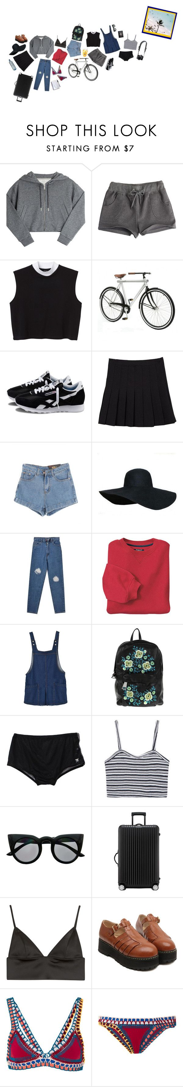 """Late holidays"" by miaminou ❤ liked on Polyvore featuring Golden Goose, Monki, Areaware, Reebok, Chicnova Fashion, INC International Concepts, Christopher Kane, TYR, Retrò and Rimowa"