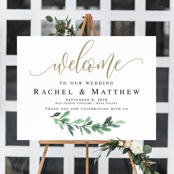 16x20, 18x24, 20x30, 24x36 Tropical Gold Geometric Greenery Wedding Welcome Sign Printable \u2022 INSTANT DOWNLOAD \u2022 Editable Template #WD005