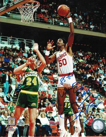 "Autographed Ralph Sampson Houston Rockets 8x10 Photo Inscribed """"85-86 Western Conference Champs"""""