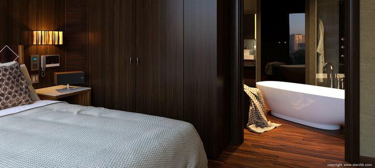 render/infografía 3d de dormitorio realizado por www.starckk.com