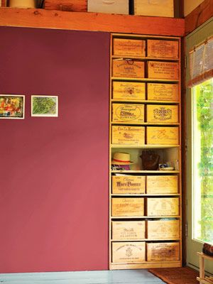 storage: Decor Ideas, Wine Crates, Crafts Storage, Crafts Organizations, Wooden Boxes, Wine Boxes, Old Crates, Colors Paintings, Storage Ideas