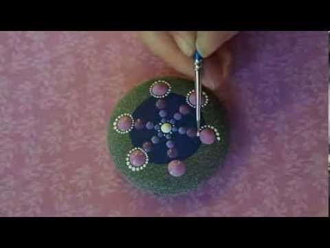 ▶ Elspeth McLean painting a Jewel Drop Mandala Stone - YouTube