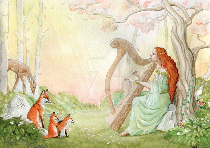 Harpist commission - Nov 2016 by Aurelie-S.deviantart.com on @DeviantArt