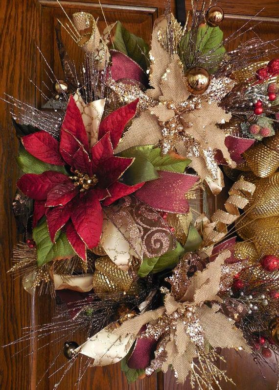RESERVED Poinsettia wreath Christmas Mesh wreath par ChickadeeLore