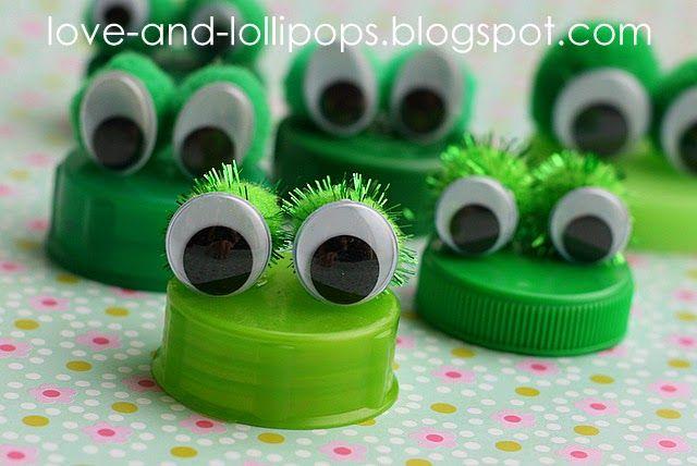 No tutorial. Frog Bottle Cap Magnets using plastic caps from coke bottles, juice bottles, milk bottle tabs, etc
