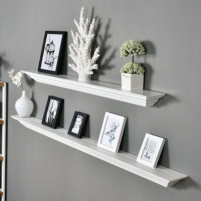 Welland Industries LLC Corona Crown Molding 2 Piece Floating Shelf Set Finish: White