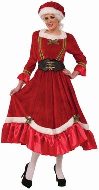 Adult Red Velvet Classic Mrs. Claus Costume