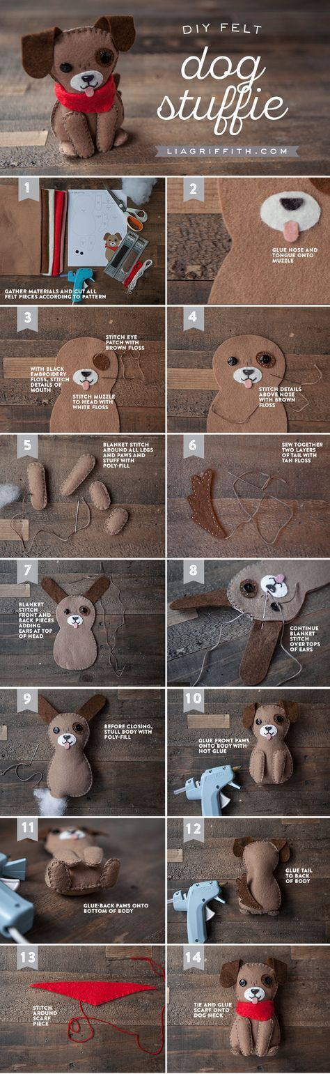 Woof! Want to make the cutest stuffed dog you ever did see? Downloadable pattern and tutorial by handcrafted lifestyle expert Lia Griffith.Nx