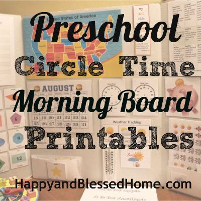 FREE Circle Time Morning Board printables with Calendar, Tracing, Stickers, Weather, Counting Money, Telling Time and More from HappyandBlessedHome.com