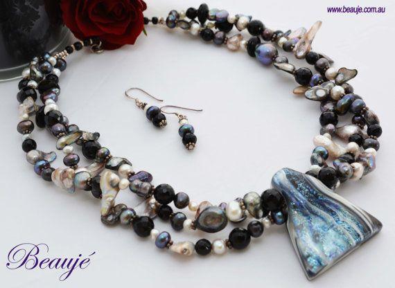 Black necklace Grey necklace Jewellery by BeaujeJewellery on Etsy