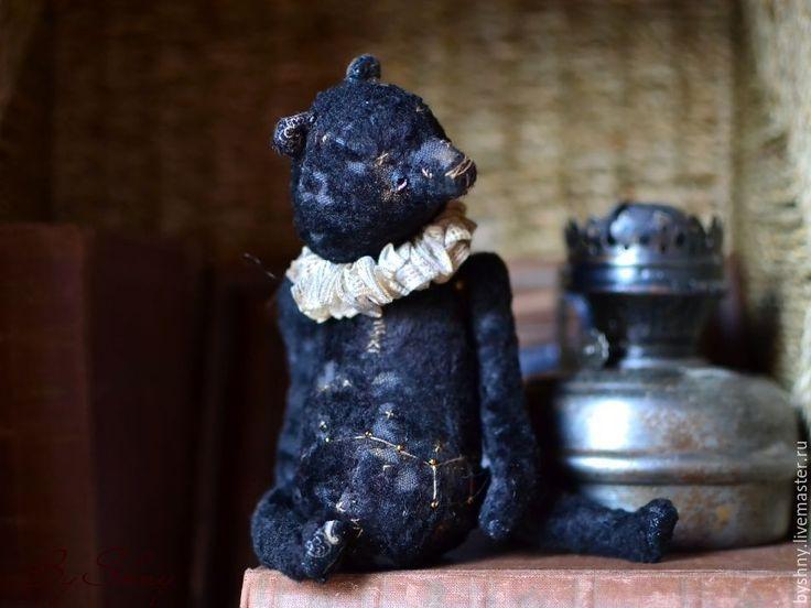 Купить Ночь.... - черный, черный мишка, мишка тедди, Плюшевый мишка, старенький мишка